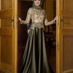 gold payetli tesettür abiye elbise modelleri 2016