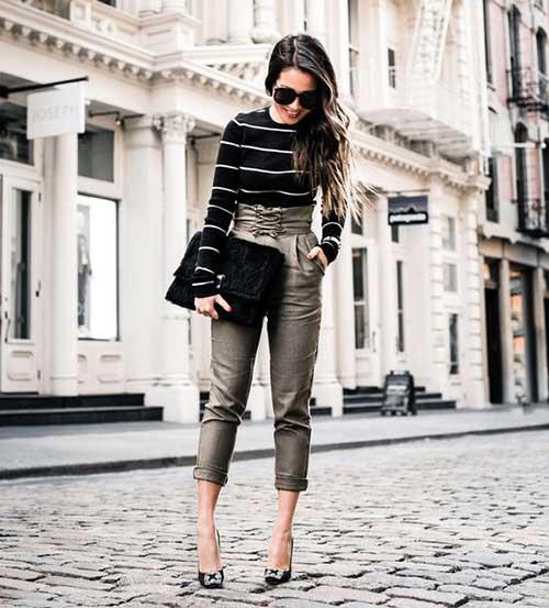 Yüksek Bel Pantolon Kombinleri-13
